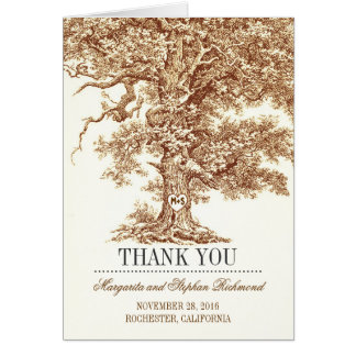 old tree romantic wedding thank you cards