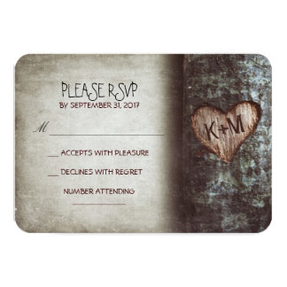 Old tree rustic wedding RSVP cards 9 Cm X 13 Cm Invitation Card