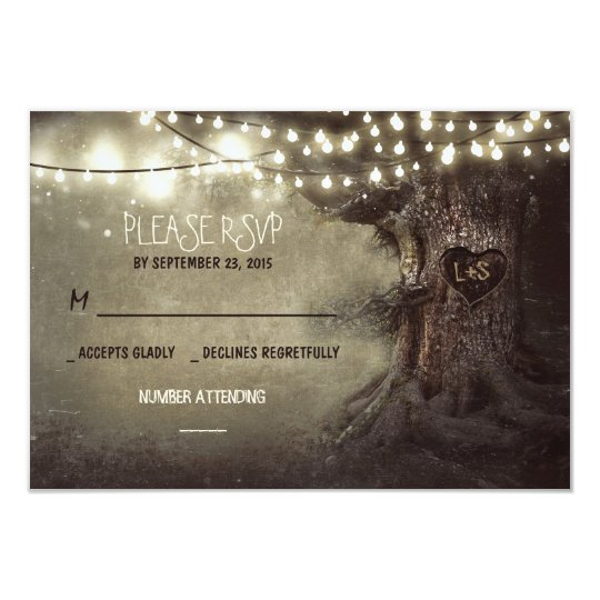 old tree string lights rustic wedding RSVP cards