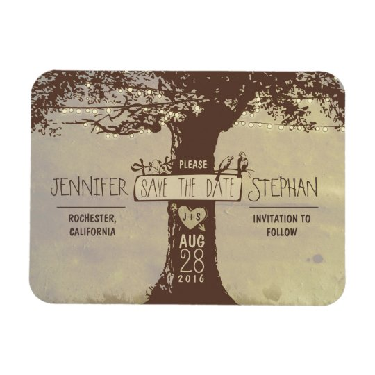 Old tree string lights save the date magnets