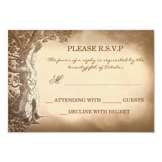 old tree vintage rustic wedding RSVP cards