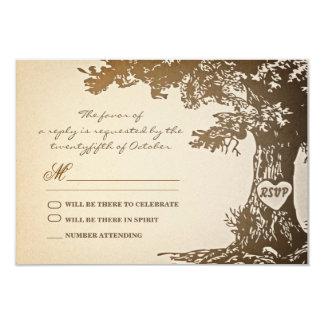 old tree vintage wedding rsvp design 9 cm x 13 cm invitation card