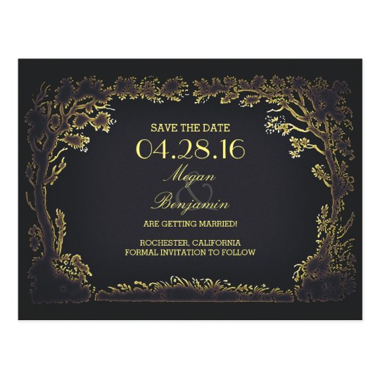 old trees avenue vintage save the date postcards