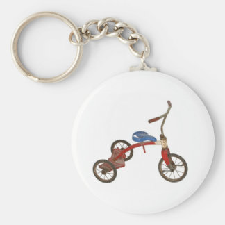 Old Tricycle Basic Round Button Key Ring