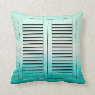 Old tropical colors window shutters cushion