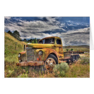Old truck abandoned in field card
