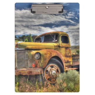 Old truck abandoned in field clipboard