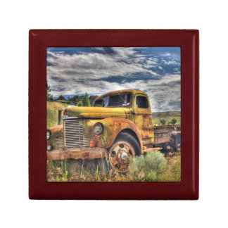 Old truck abandoned in field gift box
