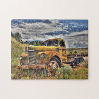 Old truck abandoned in field jigsaw puzzle