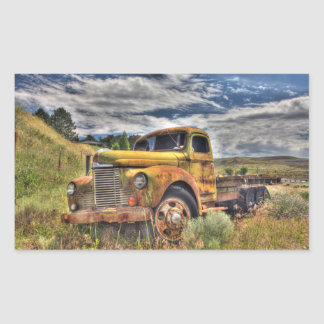 Old truck abandoned in field rectangular sticker