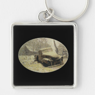 Old Truck Cross-stitch Silver-Colored Square Key Ring