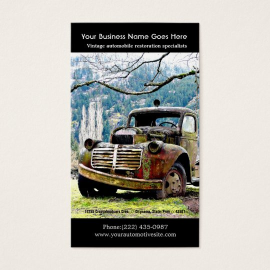 Old Truck Repairs - Vintage Auto Photo Business Card