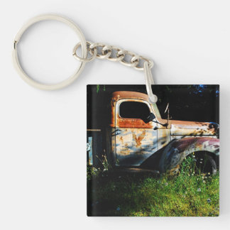 Old Truck Single-Sided Square Acrylic Key Ring