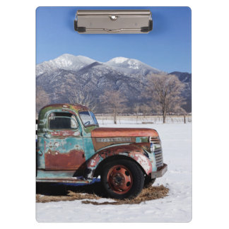 Old truck sitting in the field clipboard