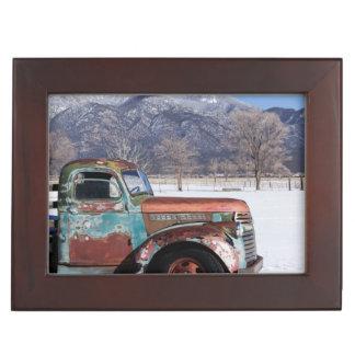 Old truck sitting in the field keepsake box