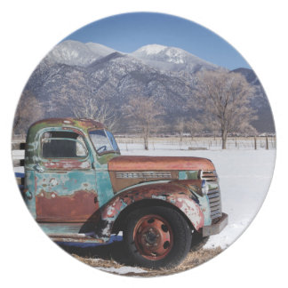 Old truck sitting in the field plate