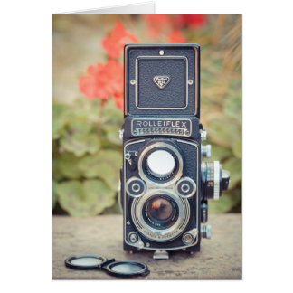 Old twin lens camera greeting card
