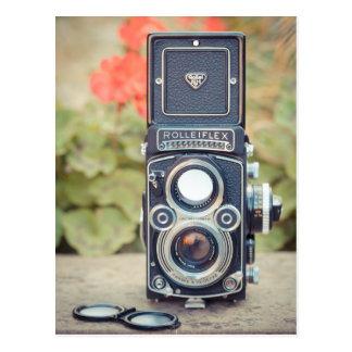 Old twin lens camera postcard