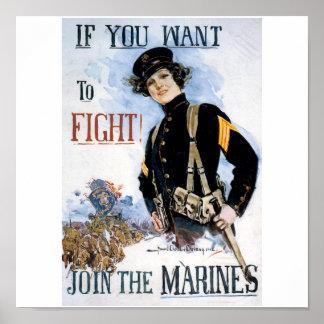 Old U.S. Marines Poster circa 1915