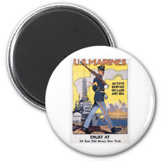 Old U.S. Marines Poster circa 1918 Magnets