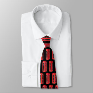 Old UK Telephone Box Pattern Tie