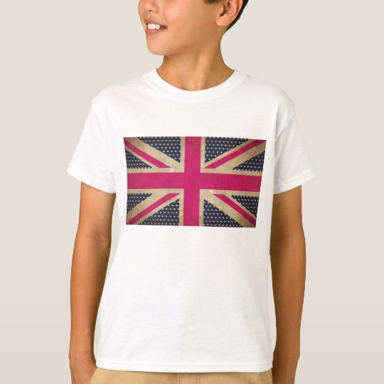 Old Union Jack in Pink Flag Kids Tee