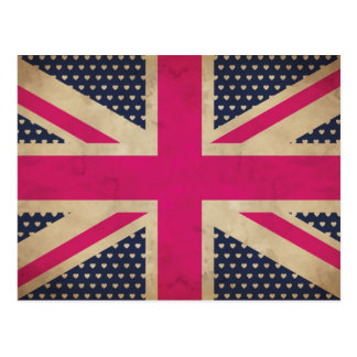 Old Union Jack in Pink Flag Postcard