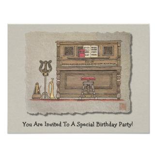 Old Upright Piano 11 Cm X 14 Cm Invitation Card