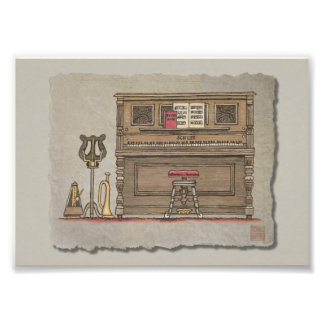 Old Upright Piano Photographic Print