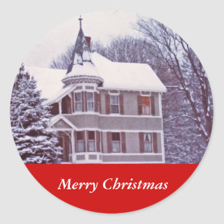 Old Victorian House at Christmas Round Sticker