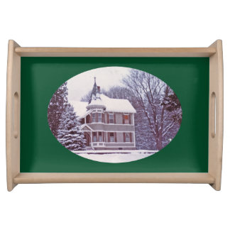 Old Victorian House - Home for the Holidays Serving Tray