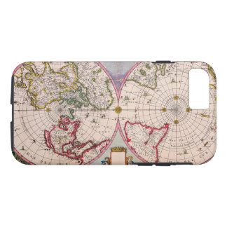Old Vintage Antique World Map From the Poles iPhone 7 Case