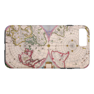Old Vintage Antique World Map From the Poles iPhone 7 Plus Case
