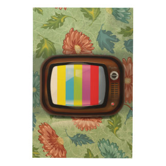 Old Vintage CRT Television Wood Print