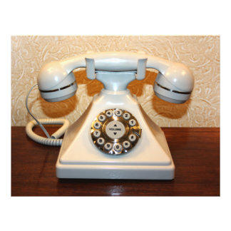 Old Vintage Dial-up White Phone Full Color Flyer