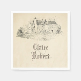Old Vintage Fairy Tale Castle Wedding Paper Serviettes