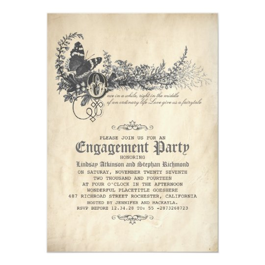 Old Vintage Fairytale Engagement Party Invitation