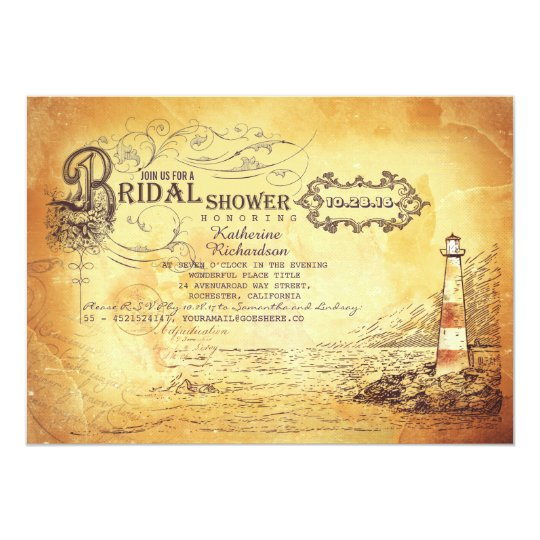 Old vintage lighthouse nautical bridal shower card