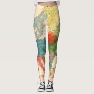 Old Vintage Map of the World Leggings