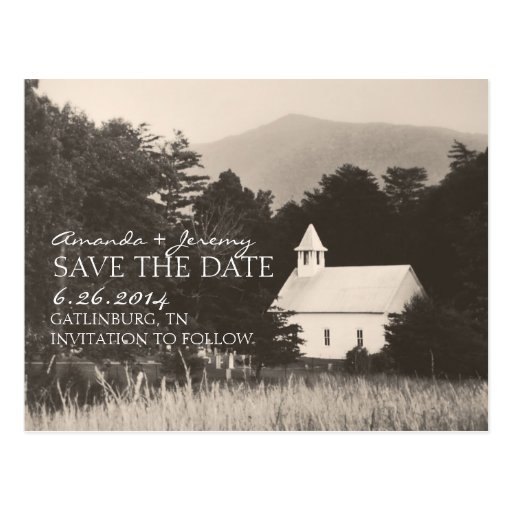 Old Vintage Mountain Church Save the Date Post Cards
