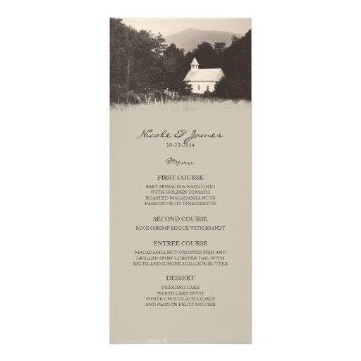 Old Vintage Mountain Church Wedding Menu Personalized Invite