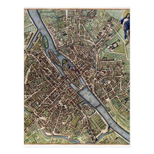Old Vintage Paris Map shabbychic Postcard