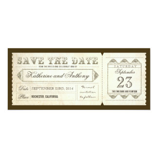 old vintage save the date ticket card