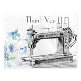 Old Vintage Sewing Machine Thank You Postcard