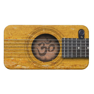 Old Vintage Spiritual Guitar with Om Symbol iPhone 4 Cover