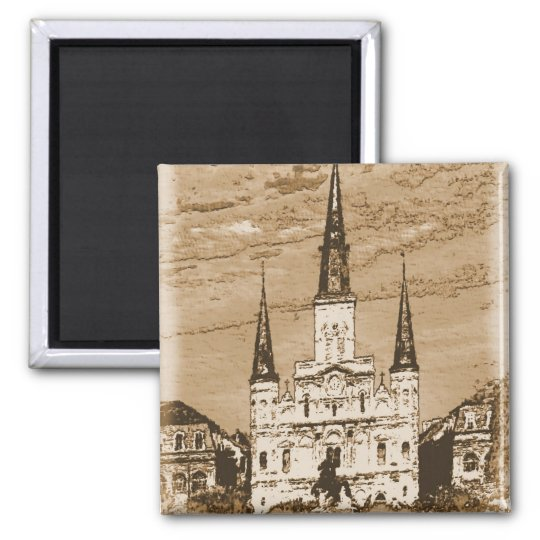 Old Vintage St Louis Cathedral French Quarter New Square Magnet