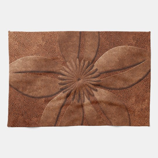 Old Vintage Style Copper Textured Flower Kitchen Towels