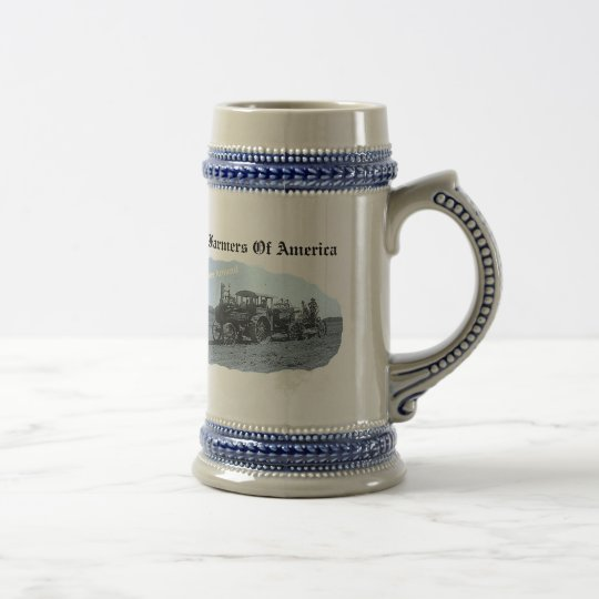 Old Vintage Tractor Ploughing- Stein Mug