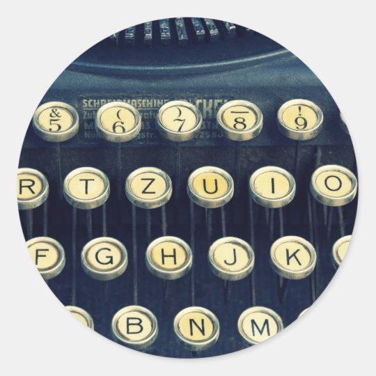 Old Vintage Typewriter Keyboard Keys Classic Round Sticker