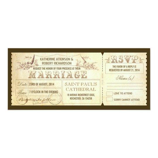Wedding Invitation Tickets: Old Vintage Wedding Invitations - Tickets & RSVP